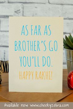 Funny rakhi and raksha bandhan cards to make your brohter laugh this year! We also have a limited number of rakhis which you can add to your order. #rakhicard #rakshabandhan Rakhi Greetings, Raksha Bandhan Cards, Rakhi Cards, Happy Rakhi, Happy Rakshabandhan, Your Brother, Kraft Envelopes, Blank Cards, Card Making