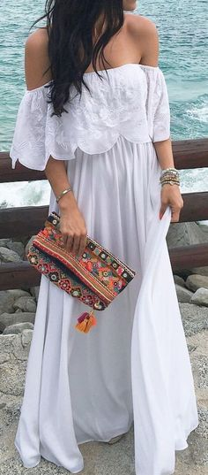 #summer #outfits / off the shoulder white dress