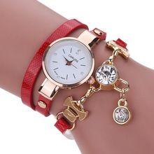 Nueva Moda de cuero PU pulsera mujeres reloj de pulsera de Oro de Cuarzo Relojes…