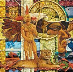 Alfredo Vivero, El Encanto Nativo | El Encanto Oculto De La Vida Mexican Fabric, Mexican Art, Aztec Warrior, Aztec Art, Peacock Art, Mesoamerican, Global Art, Figure Painting, Black Art