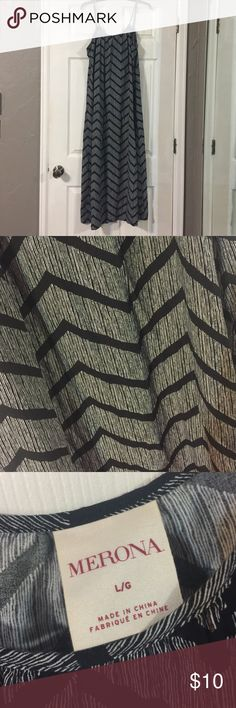 "Merona Cotton Maxi Dress EUC- wore once! Black and white Merona Maxi dress is a breezy cotton.  Fun print.  Measures 56"" long from top of adjustable strap to the bottom hem.  Sorry no trades. Merona Dresses Maxi"