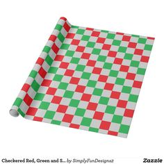 Checkered Red, Green and Silver Wrapping Paper