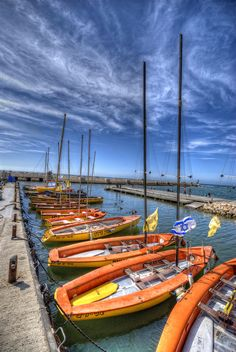 Boats on the water. Gorgeous  waterfront activities make Tel Aviv, Jerusalem an ideal travel location.