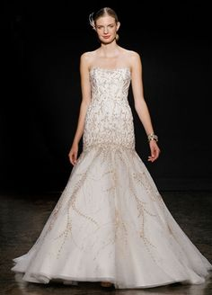 Lazaro - Strapless Mermaid Gown in Beaded Embroidery