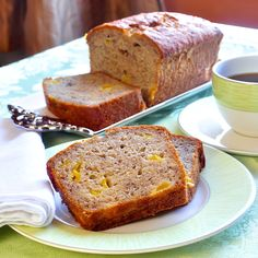 I see those speckled bananas on your counter. Use them in this delicious, fragrant new spice banana bread recipe with sweet chunks of mango baked right in.