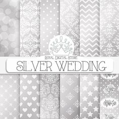 """Silver Wedding Digital Paper: """" Silver Wedding"""" with classical silver damask wedding pattern, lace, chevron, stars, flowers backgrounds #printable #Groupgos"""