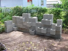 cinder block wall planter  DIY this with reclaimed blocks??