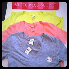 New! PINK 3 shirt summer bundle! 3 shirts All new with tags All size small Long length True to size PINK Victoria's Secret Tops