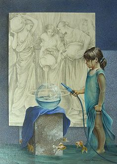 """acrylic painting Alex y sus juguetes """"...the art of Chelin Sanjuan stands out for its polished technique. Her drawing is clean, with steady ..."""