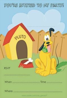 Pluto party invite- Too cute for a Pluto, goofy and Mickey party