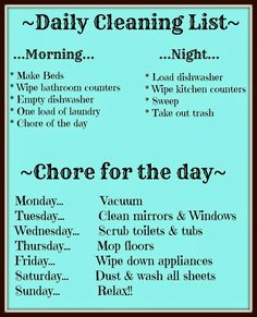 68 Ideas Daily Cleaning Schedule For Kids Chore Charts Spring cleaning, spring cleaning checklist, how Daily Cleaning Lists, House Cleaning Checklist, Household Cleaning Tips, Diy Cleaning Products, Cleaning Solutions, Cleaning Hacks, Daily Chore List, Weekly Cleaning Schedule Printable, Household Cleaning Schedule