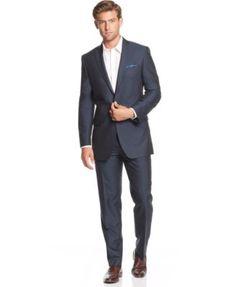 Tallia Navy Sharkskin Slim-Fit Suit Separates