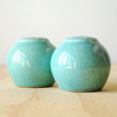 Vintage Salt and Pepper Shakers in Turquoise Aqua Blue California Pottery Style