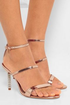 Heel measures approximately 85mm/ 3.5 inches Rose-gold leather Buckle-fastening ankle strapSmall to size. See Size & Fit notes.