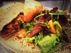 #TGPL BBQ Pork Sandwich with Kraut. Local Mico Greens Salad, Shoemaker Farms Apricots, Cabernet Vinaigrette