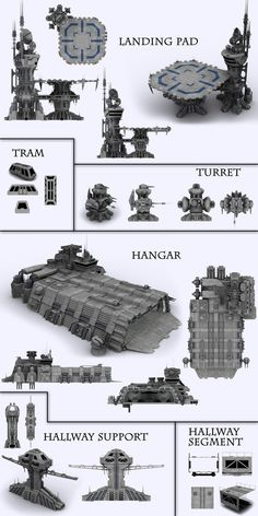 Series of modules for building a scifi base. Six modules include a landing pa. Base Building, Building Concept, 40k Terrain, Wargaming Terrain, Spaceship Design, Spaceship Concept, Stargate Ships, Star Wars Vehicles, No Man's Sky