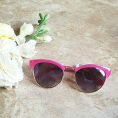 """Kate Spade Kacee Cat- Eye Sunglasses Pink The perfect warm weather sunnies! Absolutely adorable (and gorgeous!), NWT Kate Spade """"Kacee"""" cat- eye sunglasses in gold with beautiful, bright sweetheart pink detailing. 100% UV protection. Ships w/ Kate Spade's adorable, spring green hardshell case. kate spade Accessories Sunglasses"""