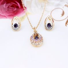 Vintage Fashion Austria Crystal Full Rhinestone Drop Necklace Earrings Set 18K Silver&Gold Plated Jewelry sets For Women