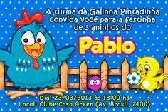 Convites de Aniversário Festa Infantil com tema Galinha Pintadinha ...