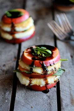 // Fried Mozzarella, Basil and Nectarine Stacks with Balsamic Glaze