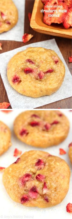 Clean-Eating Strawberry Maple Cookies -- these skinny cookies don't taste healthy at all! The softest & chewiest you'll ever eat!