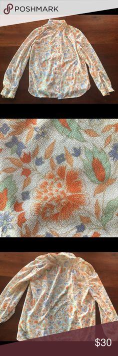 Vintage 1970s floral blouse Beautiful colors! Vintage 1970s floral blouse with charming details. Tops Blouses