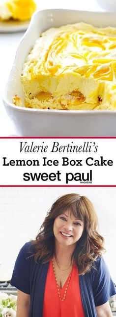 Bertinelli's Lemon Ice Box Cake This recipe is from Valerie's Home Cooking, by Valerie Bertinelli!This recipe is from Valerie's Home Cooking, by Valerie Bertinelli! Köstliche Desserts, Lemon Desserts, Lemon Recipes, Delicious Desserts, Dessert Recipes, Yummy Food, Boxed Cake Recipes, Icebox Cake Recipes, Lemon Cakes