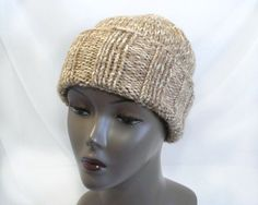 Tan Slouchy Watchcap - Man's Hand Knit Winter Hat, Chunky Knit Marled Wool Hat, Handmade in USA, Ready to Ship