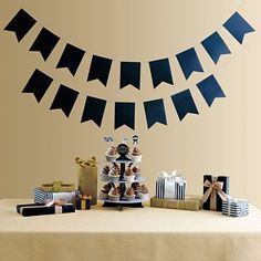 """MarthaCelebrations™ Chalkboard Banner...just enough pennants to spell out """"Congrats Graduate"""""""