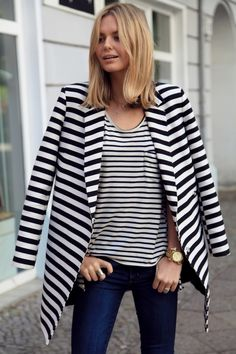 The beautiful fashion blogger #tuula wearing stripes on stripes! #stripes #fashion