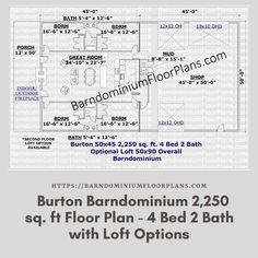 Burton - 4 Bed – 2 Bath – 2,250 sq. ft.– with Loft Options. We sell semi-custom Barndominium floor plans and provide helpful tips to design and build your home whether it is DIY or you are paying a company. #architecture #barndominiums #home #modernbarn #barnhomefloorplans #beautifulbarn #homefloorplan #barnhomedesign #housedesign #barndominiumfloorplans #floorplan #dreambarn #barnhouse #barndominiumliving #interiordesign #barndominiumdesign #loft #barnloft