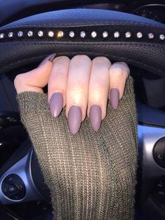 Matte mauve/purple stiletto nails. Perfect for fall!
