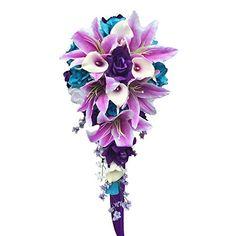 Cascade Wedding Bouquet - Turquoise Purple and Lavender R... https://www.amazon.com/dp/B00KGNHQKS/ref=cm_sw_r_pi_dp_U_x_w5QUAbSJ3X4DK