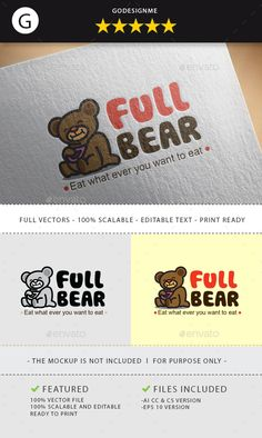 Full Bear Logo Design Template  - Animals Logo Design Template Vector EPS, AI Illustrator. Download here: https://graphicriver.net/item/full-bear-logo/18741527?ref=yinkira