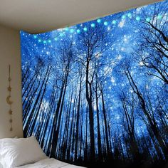 Beautiful Tapestry Glowing Forest Tapestry Take Your Kitchen to the Country Tired of the ultra-moder Trippy Tapestry, Dark Tree, Beautiful Forest, Led String Lights, Paint Party, Acrylic Art, Night Skies, Painting Inspiration, Painted Rocks