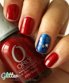 Glitterandnails design. Used: Orly Star Spangled, China Glaze Blue Year's Eve and Kleancolor Silver Star for the stars.