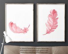 Azul pluma Print set 2 plumas Acuarela abstracta decoración