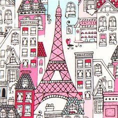 white city Paris fabric house cafe par Robert Kaufman USA 1