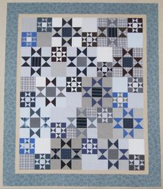 Quilt made from client's husband's shirts  -  Valerie Custom Quilting