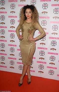 All that glitters: Singer Ella Eyre looked incredible in an embellished gold knitted number Gold Dress, Peplum Dress, Ella Eyre, Cape Jumpsuit, Tori Kelly, Blonde Curly Hair, Black Cape, Sexy Ebony, Good Hair Day