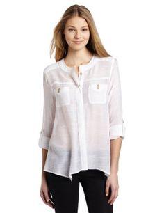 Amazon.com: Democracy Women's Long Sleeve Button Tab Blouse: Clothing