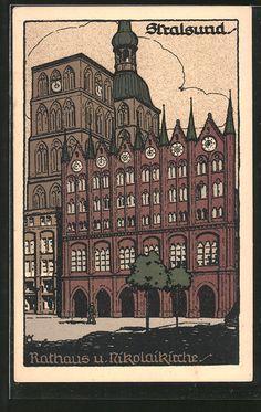 Steindruck-AK-Stralsund-Rathaus-und-Nikolaikirche.jpg (388×614)