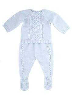 Newborn baby boy light silver blue knitted ensemble