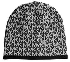 f6b71d63723 Michael Kors Women s MK Small Repeat Logo Knit Beanie Hat