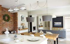 kuchnia w stylu angielskim dodatki - Szukaj w Google Flat Ideas, Brick Wall, Scandinavian Design, Dining Room, Interior Design, Table, Inspiration, Furniture, Home Decor
