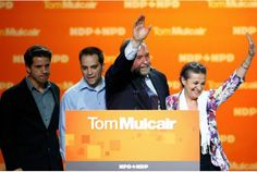 Election night crash leaves heavy hearts in the NDP camp - NDP Leader Tom Mulcair waves with his wife, Catherine, and sons Greg and Matthew after giving his concession speech on Monday night. Election Night, Heavy Heart, Toronto Star, Monday Night, Sons, Hearts, Waves, Canada, Camping
