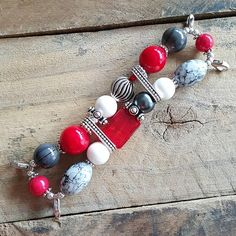 Grey, Crimson Red, White and Silver Stretchy Watchband Interchangeable