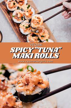 Tuna Roll Sushi, Tuna Sushi Recipe, Easy Sushi Rolls, Spicy Tuna Sushi, Homemade Sushi Rolls, Vegan Sushi Rolls, Healthy Sushi, Spicy Tuna Roll, Vegetarian Sushi Recipes