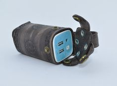 Powerbank belt purse, wallet in a steampunk style. Made from leather