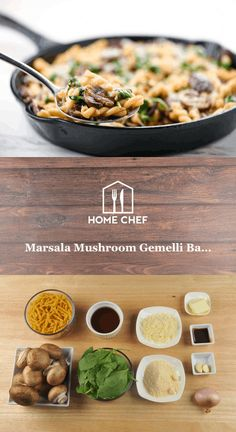 Marsala Mushroom Gemelli Bake with Swiss cheese Chef Recipes, Lunch Recipes, Wine Recipes, Italian Recipes, Vegetarian Recipes, Healthy Recipes, Healthy Meals, Easy Recipes, Cheap Healthy Dinners